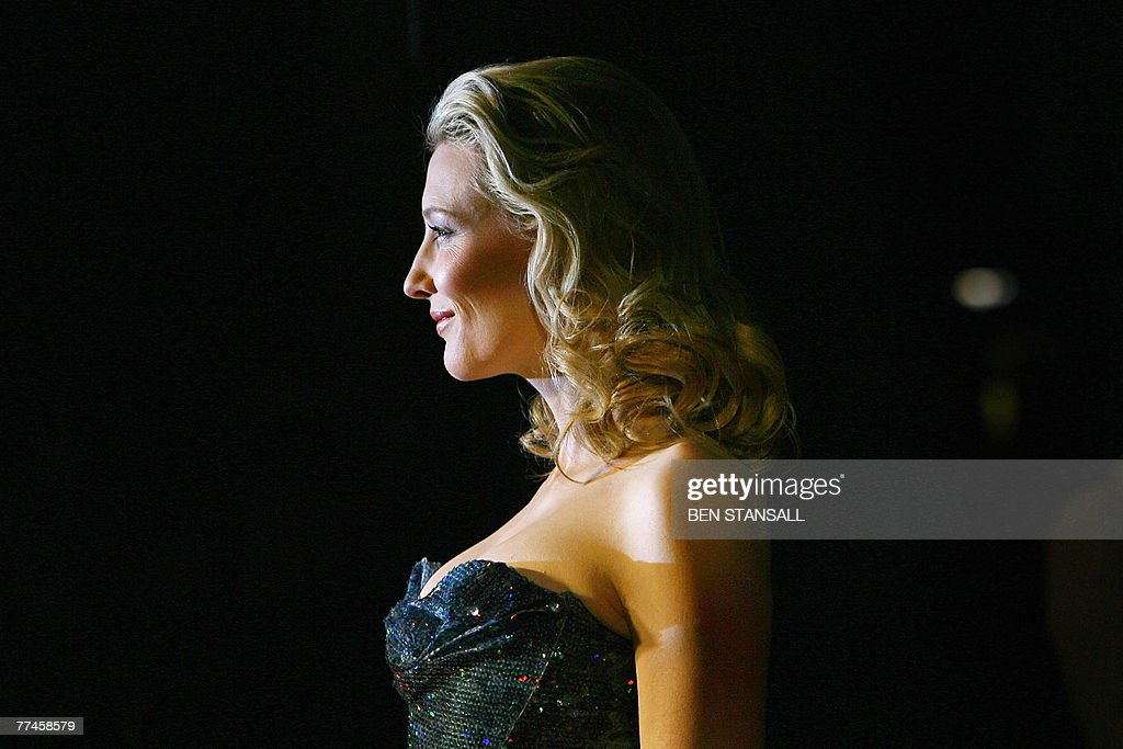 Australian actress <a gi-track='captionPersonalityLinkClicked' href=/galleries/search?phrase=Cate+Blanchett&family=editorial&specificpeople=201621 ng-click='$event.stopPropagation()'>Cate Blanchett</a> arrives at The Odeon Cinema in Leicester Square in central London, 23 October 2007, for the UK film premiere of 'Elizabeth, The Golden Age' directed by Shekhar Kapur.