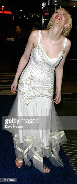 Australian actress Cate Blanchett attends the film premiere of 'Charlotte Gray' at the Odeon Cinema on February 12 2002 in London