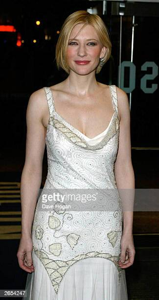 Australian actress Cate Blanchett attends the premiere of the film 'Charlotte Gray' at the Odeon Leicester Square on February 12 2002 in London