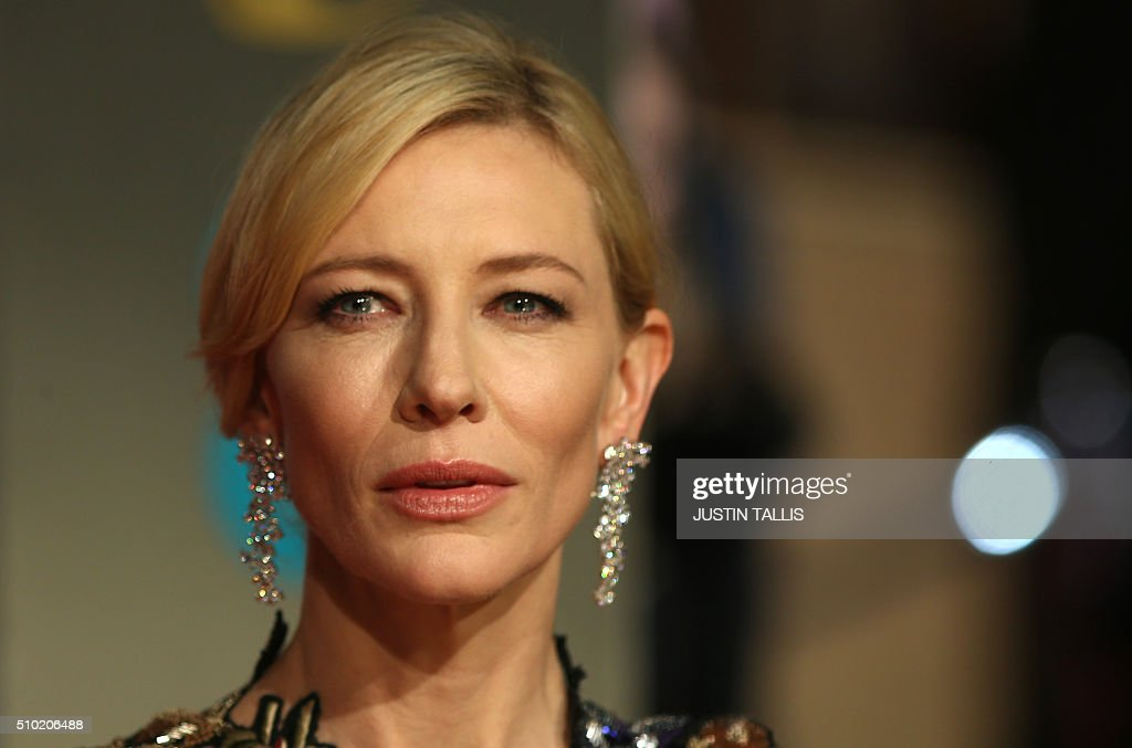 Australian actress Cate Blanchett poses on arrival for the BAFTA British Academy Film Awards at the Royal Opera House in London on February 14, 2016. TALLIS