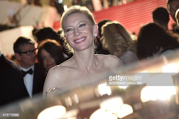Australian actress Cate Blanchett smiles as she leaves the Festival palace after the screening of the film 'Carol' at the 68th Cannes Film Festival...
