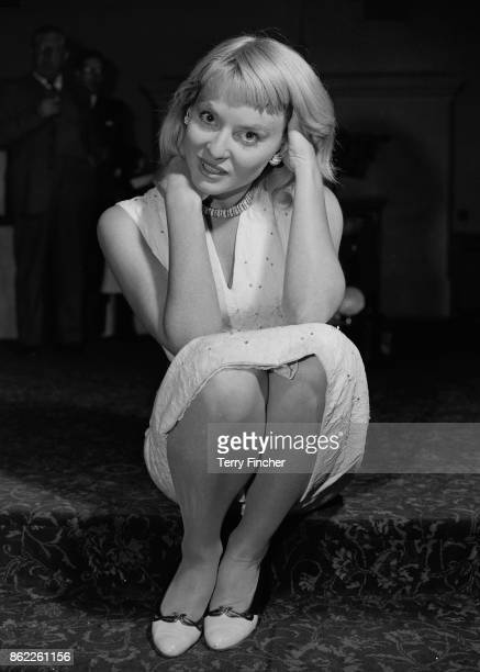 Australian actress Diane Cilento during a reception at the Hungaria Restaurant 6th May 1957 She has just returned from a holiday in Italy to star in...