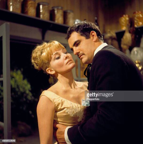 Australian actress Diane Cilento pictured with English actor Gary Raymond in a scene from the television drama 'Miss Julie' by Strindberg