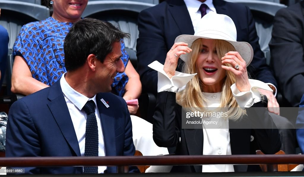 Australian actress Nicole Kidman (R) and Tony Estanguet (L), co-chairman of the Paris 2024 Organising Committee attend for the men's final match between Stan Wawrinka of Switzerland and Rafael Nadal of Spain at the Roland Garros stadium in Paris, France on June 11, 2017.