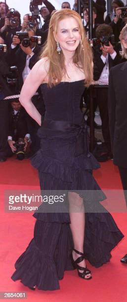 Australian actress Nicole Kidman attends the premiere of her film 'Moulin Rouge' at the International Film Festival on April 2 2001 in Cannes France