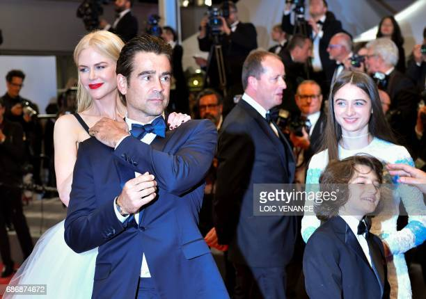 Australian actress Nicole Kidman Irish actor Colin Farrell Irish producer Andrew Lowe British actress Raffey Cassidy and US actor Sunny Suljic leave...