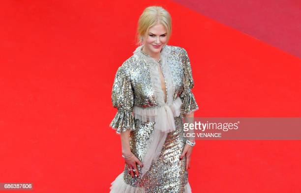 Australian actress Nicole Kidman leaves the Festival Palace on May 21 2017 following the screening of the film 'How to talk to Girls at Parties' at...