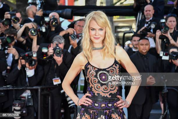 Australian actress Nicole Kidman poses as she arrives on May 23 2017 for the '70th Anniversary' ceremony of the Cannes Film Festival in Cannes...