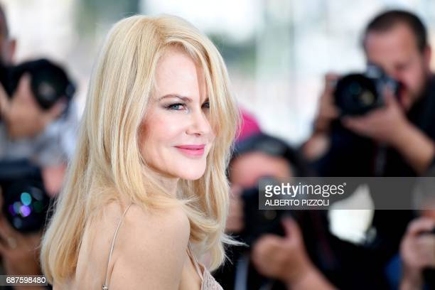 TOPSHOT Australian actress Nicole Kidman poses on May 24 2017 during a photocall for the film 'The Beguiled' at the 70th edition of the Cannes Film...