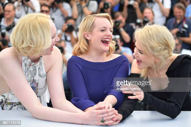 Australian actress Nicole Kidman US actress Elisabeth Moss and British actress Gwendoline Christie pose during a photocall for the film Top Of The...
