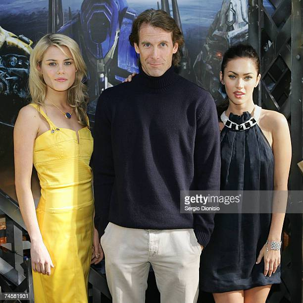 Australian actress Rachael Taylor Director Michael Bay and actress Megan Fox of the US attend the press conference for the new film 'Transformers' at...