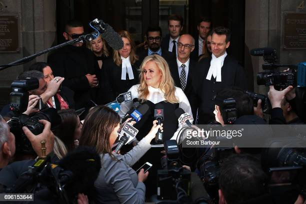 Australian actress Rebel Wilson speaks to the media as she leaves the Victorian Supreme Court on June 15 2017 in Melbourne Australia After a three...