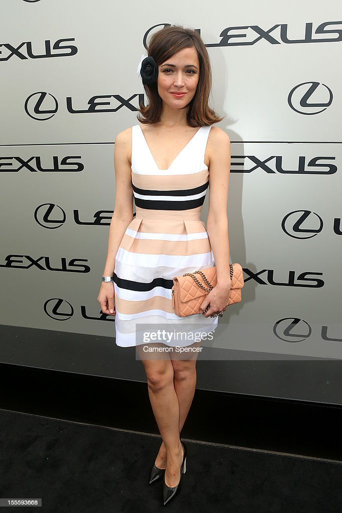 Australian actress Rose Byrne poses at the Lexus Design Pavillion on Melbourne Cup Day at Flemington Racecourse on November 6, 2012 in Melbourne, Australia.
