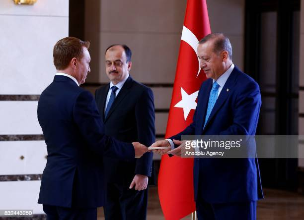 Australian Ambassador to Ankara Marc Innes Brown presents the letter of credence to President of Turkey Recep Tayyip Erdogan at Presidential Complex...
