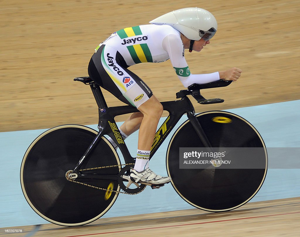 Australian Amy Cue competes to win the silver during the womens' individual pursuit event of UCI Track Cycling World Championships in Minsk on February 20, 2013.