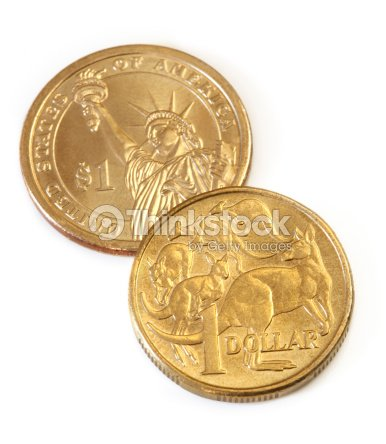 Australian And American Dollar Coins Stock Photo