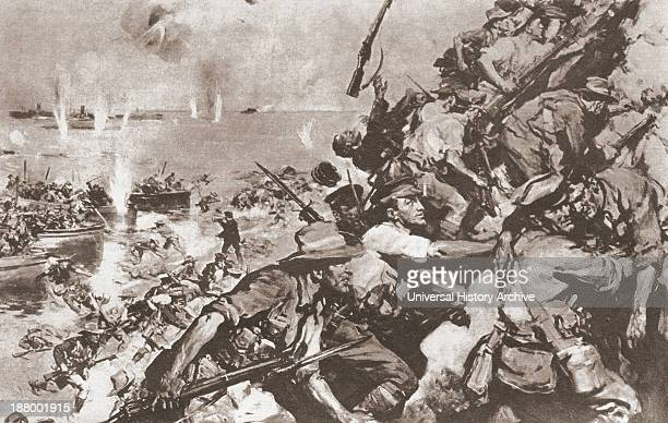 Australian And New Zealand Troops Landing On The Beach At GallipoliTurkey April 25 1915 During World War I After The Painting By Cyrus Cuneo From The...