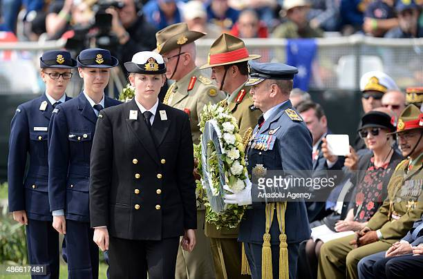 Australian and New Zealander soldiers attend the 99th anniversary of Gallipoli land campaign held at the Lone Pine cemetary during the ANZAC day on...
