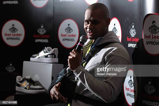 Australian and San Antonio Spurs NBA basketball player Patty Mills speaks to the media during a Footlocker in store appearance on July 15 2014 in...