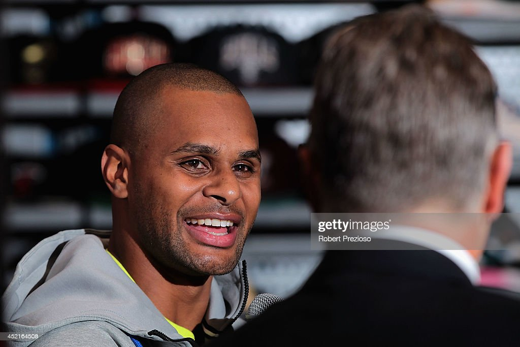 Australian and San Antonio Spurs NBA basketball player Patty Mills speaks to the media during a Footlocker in store appearance on July 15, 2014 in Melbourne, Australia.