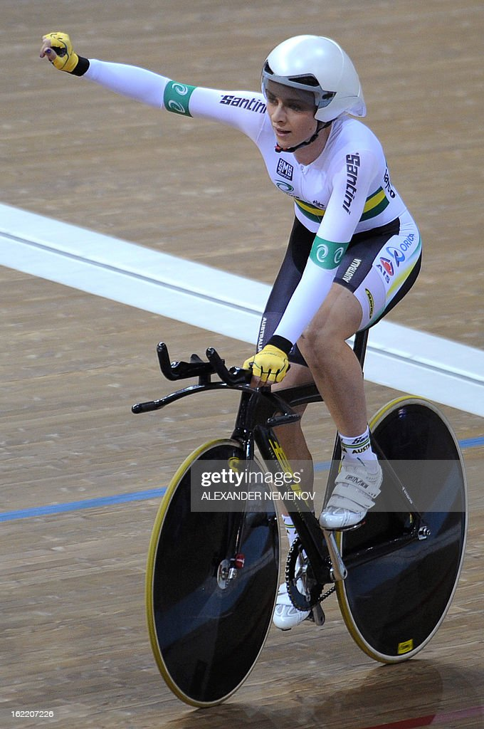 Australian Annette Edmondson celebrates winning the bronze during the womens' individual pursuit event of UCI Track Cycling World Championships in Minsk on February 20, 2013.