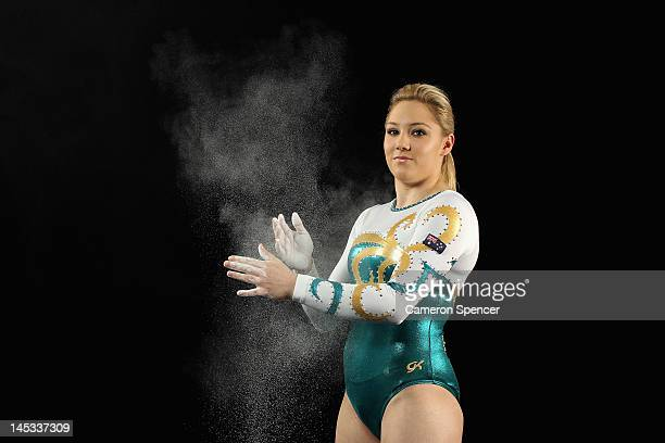 Australian artistic gymnast Emily Little poses during an Australian Gymnastics team portrait session at the State Sports Centre on May 26 2012 in...