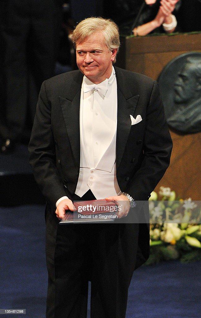 Australian astrophysicist Brian Schmidt receives the Nobel Prize for Physics at the Nobel Prize Award Ceremony 2011 at Stockholm Concert Hall on December 10, 2011 in Stockholm, Sweden.