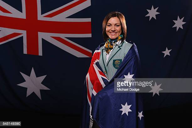 Australian athlete Anna Meares poses at the Stamford Plaza during a portrait session after being announced as the Australian flag bearer for the...
