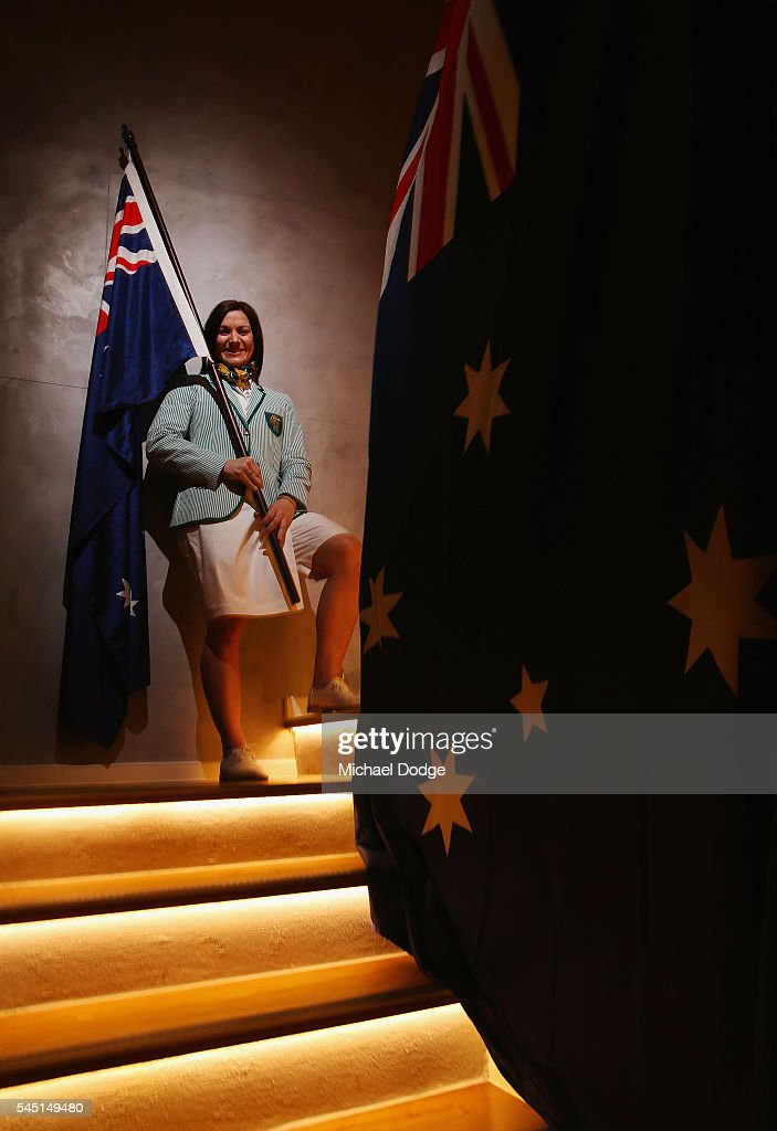 Australian athlete Anna Meares poses at the Stamford Plaza during a portrait session after being announced as the Australian flag bearer for the Opening ceremony of the 2016 Rio Olympic Games, on July 6, 2016 in Melbourne, Australia.