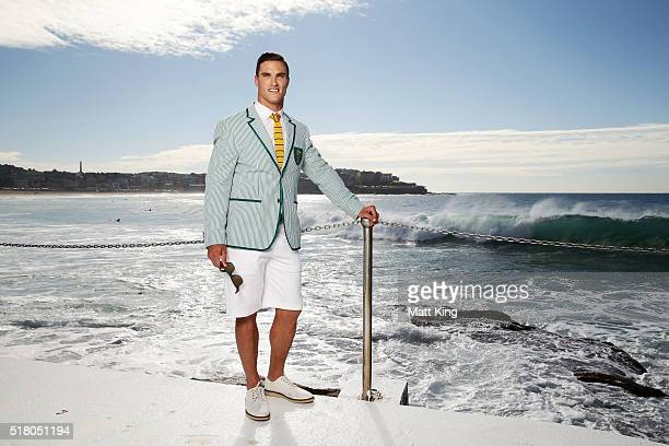 Australian athlete Ed Jenkins poses in the Australian 2016 Rio Olympic Games Opening Ceremony uniform during the Australian Olympic Games Opening...