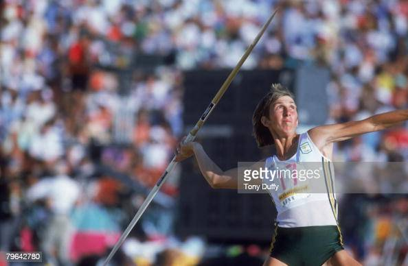 Australian athlete Glynis Nunn competing in the javelin event during the Women's Heptathlon at the Olympic Games in Los Angeles 4th August 1984 Nunn...