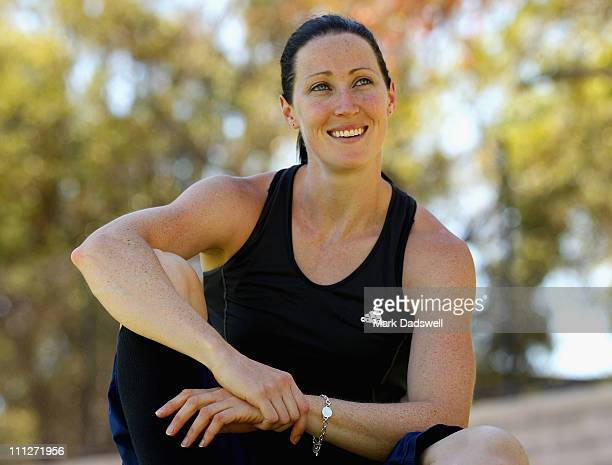Australian athlete Jana Pittman poses for a portrait after a training session at the Western Australia Athletics Centre on March 31 2011 in Perth...