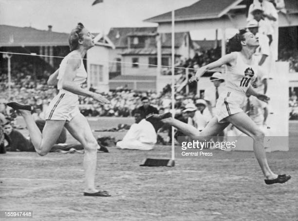 Australian athlete Marjorie Jackson wins the final of the Women's 100 Yards at the British Empire Games in Auckland New Zealand 11th February 1950...