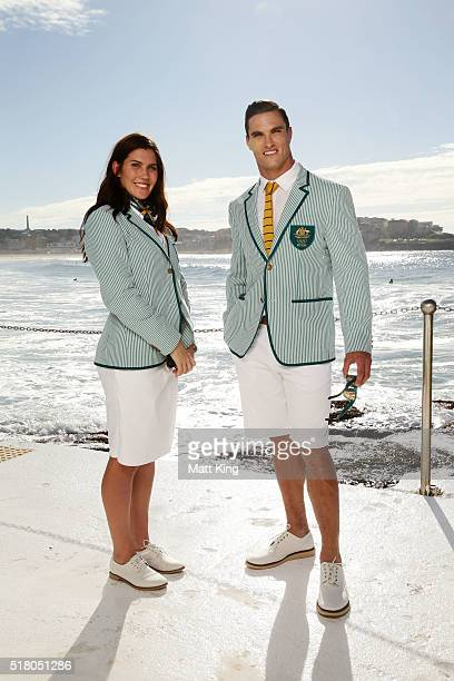 Australian athletes Charlotte Caslick and Ed Jenkins pose in the Australian 2016 Rio Olympic Games Opening Ceremony uniform during the Australian...