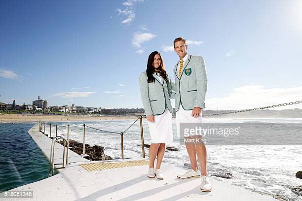 Australian athletes Charlotte Caslick and Ken Wallace pose in the Australian 2016 Rio Olympic Games Opening Ceremony uniform during the Australian...