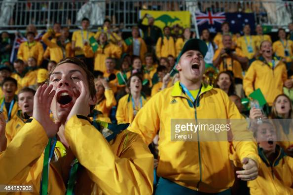 Australian athletes cheer during Hockey5s Men's Gold Medal Match between Australia and Canada on day eleven of the Nanjing 2014 Summer Youth Olympic...