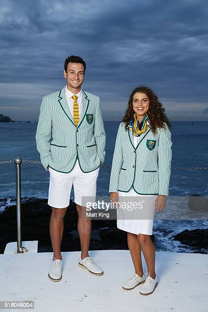 Australian athletes Josh DunkleySmith and Jessica Fox pose in the Australian 2016 Rio Olympic Games Opening Ceremony uniform during the Australian...