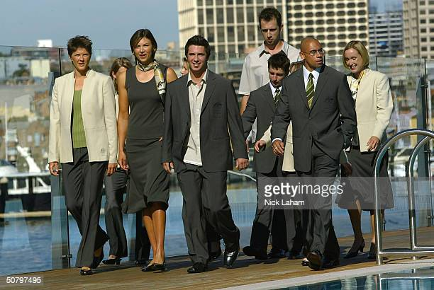Australian athletes model the Athens Formal Olympic Uniform at the Andrew Boy Charlton Swimming Pool May 4 2004 in Sydney Australia
