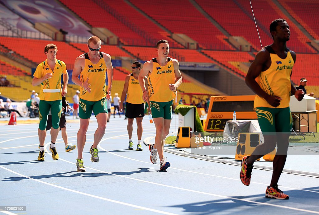Australian athletes warm up on the track ahead of the 14th IAAF World Athletics Championships Moscow 2013 at the Luzhniki Sports Complex on August 9, 2013 in Moscow, Russia.