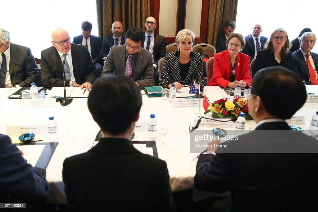 Australian Attorney General George Brandis, Australian Minister for Foreign Affairs Julie Bishop speak at the inaugural Australia-China High-level Security Dialogue at Shangri-La Hotel on April 21, 2017 in Sydney, Australia. It is the first time representatives from the two countries have met for high-level security talks.