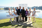 Australian Ballet Artistic Director David McAllister NSW Minister for Trade Tourism and Major Events Stuart Ayres poses alongside ballet dancers and...