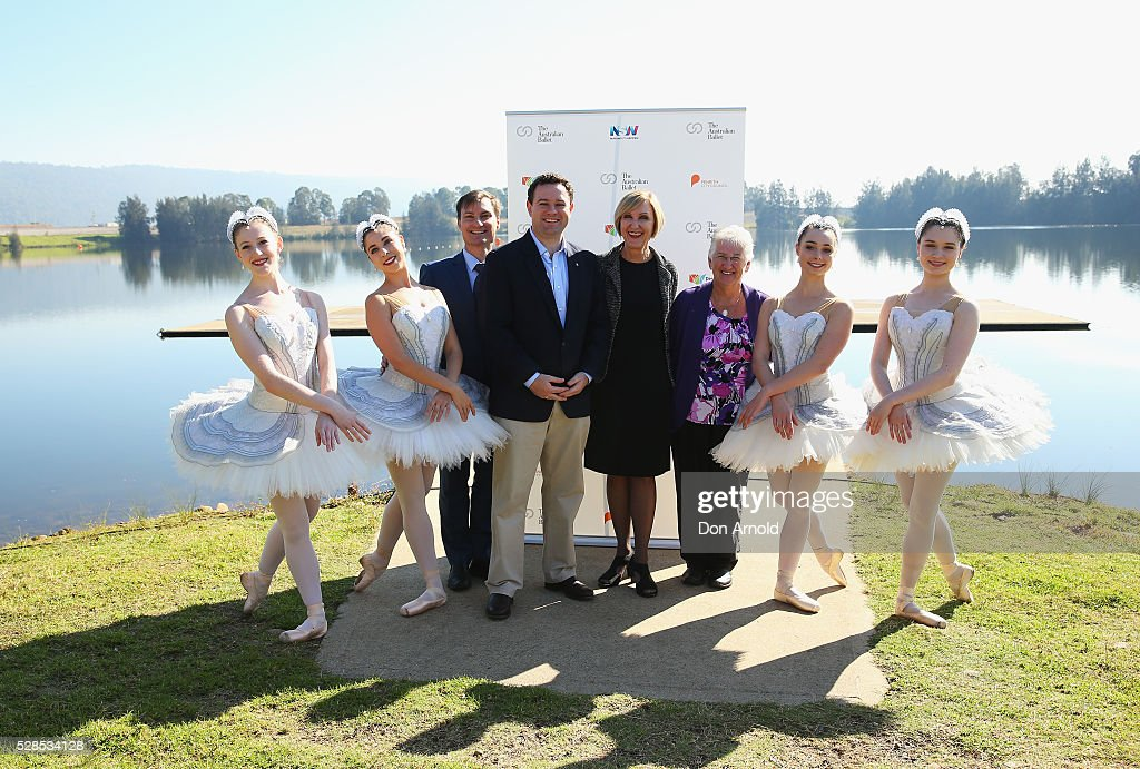 Australian Ballet Artistic Director David McAllister, NSW Minister for Trade, Tourism and Major Events Stuart Ayres poses alongside ballet dancers and The Australian Ballet's Executive Director Libby Christie during a media call for the Australian Ballet at Sydney International Regatta Centre on May 6, 2016 in Sydney, Australia.