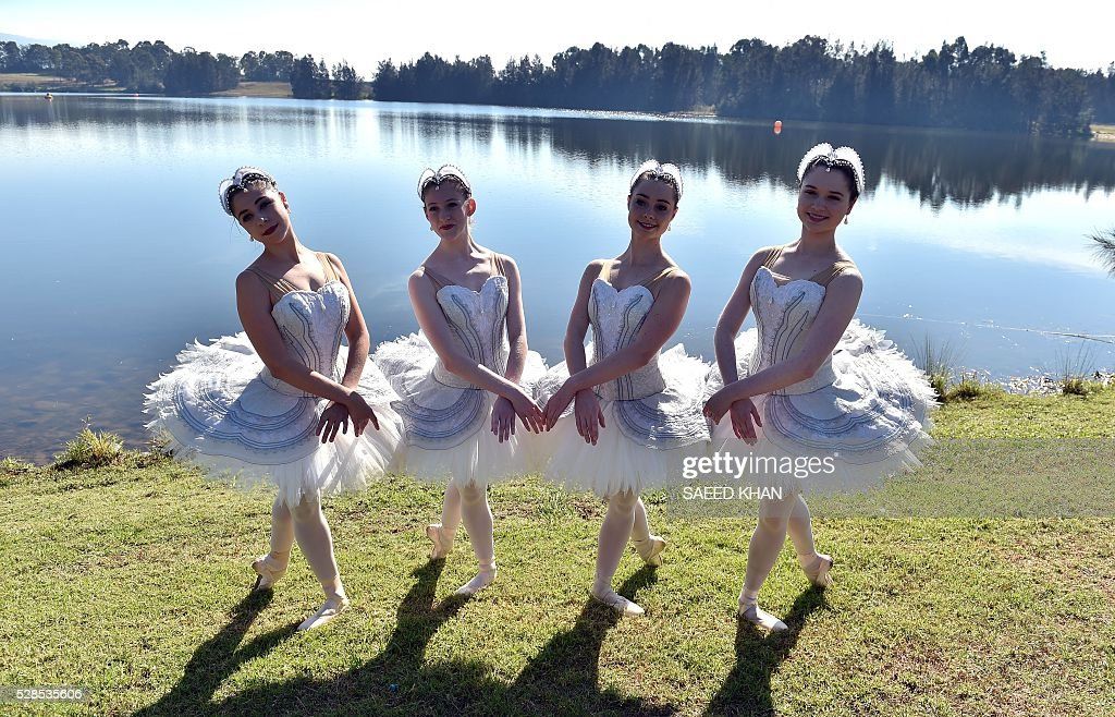 Australian Ballet dancers in white swan tutus pose during a media call at the bank of Penrith Lakes in western Sydney on May 6, 2016. / AFP / SAEED