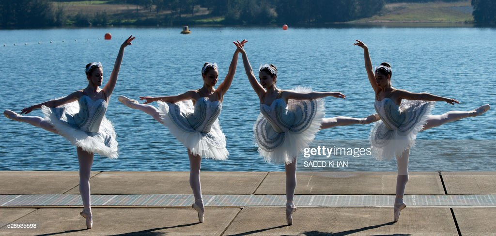 Australian Ballet dancers in white swan tutus pose during a media call on a 20-metre barge in Penrith Lakes in western Sydney on May 6, 2016. / AFP / SAEED