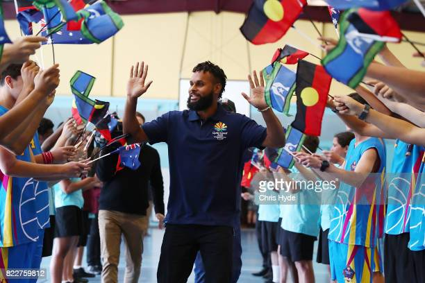 Australian basketball champion Patty Mills arrives at Keebra Park High School on July 26 2017 in Gold Coast Australia Mills has been announced as the...