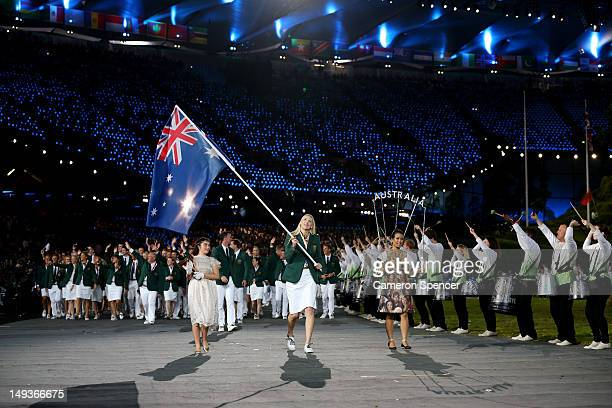 Australian basketballer and flag bearer Lauren Jackson leads the Australian team into the stadium during the Opening Ceremony of the London 2012...