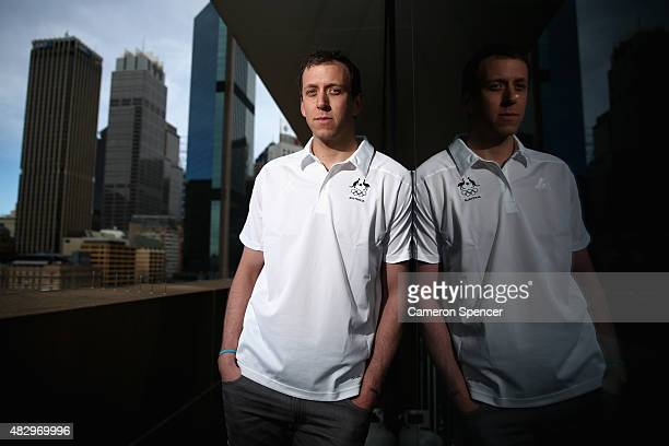 Australian basketballer Joe Ingles poses during an Australian Olympic press conference at Museum of Contemporary Art on August 5 2015 in Sydney...