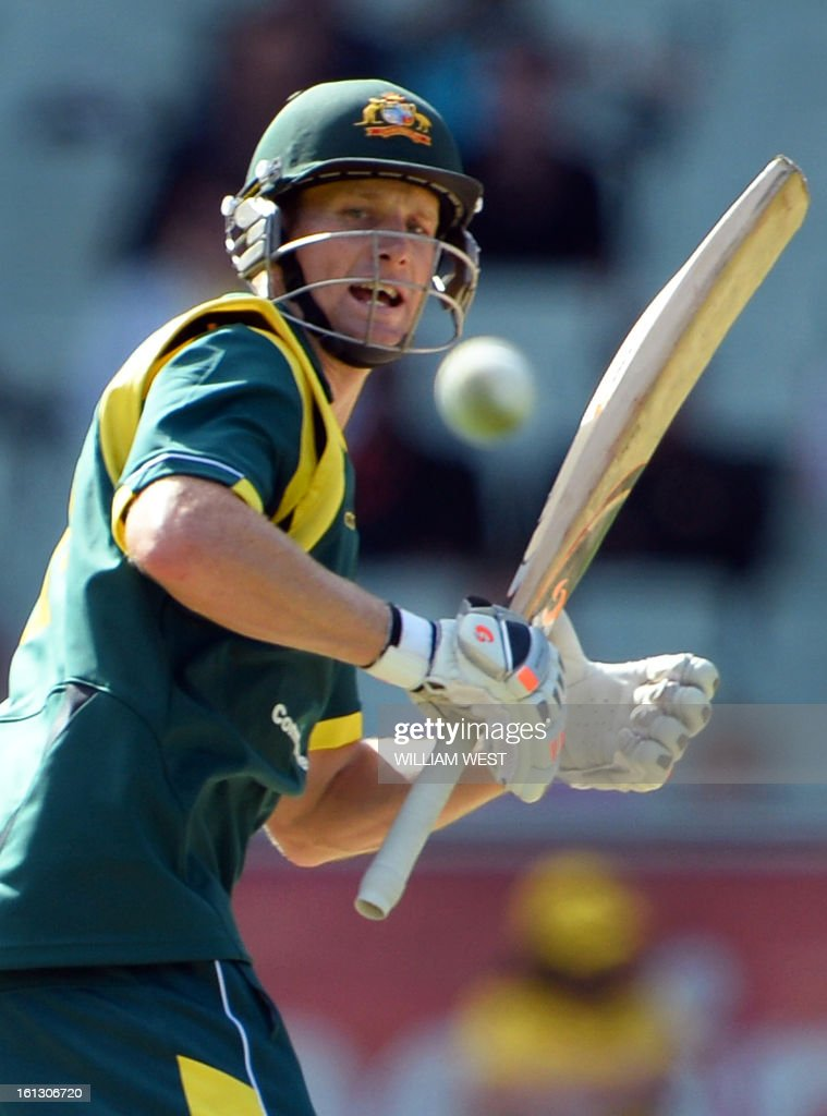 Australian batsman Adam Voges steers a ball fine on the way to scoring his 50 against the West Indies in their one-day cricket international played at the Melbourne Cricket Ground (MCG), on February 10, 2013. AFP PHOTO/William WEST IMAGE