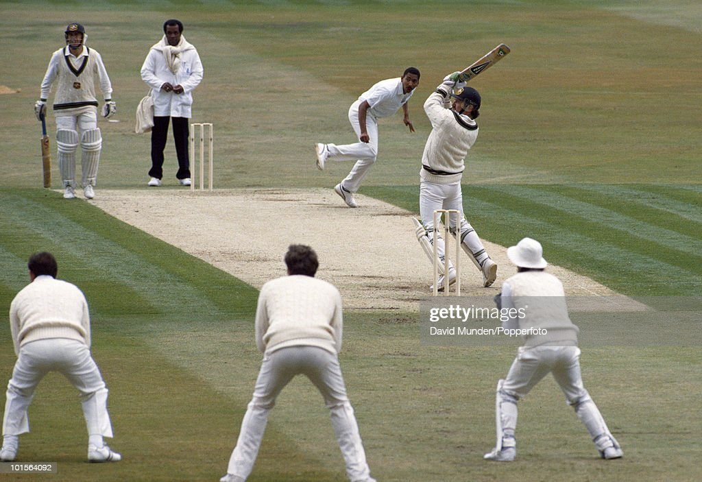 Australian batsman Allan Border hits a ball from England bowler Philip DeFreitas for 6 runs on the first day of the 1st Test match between England and Australia at Headingley in Leeds, 8th June 1989. Australia won by 210 runs.