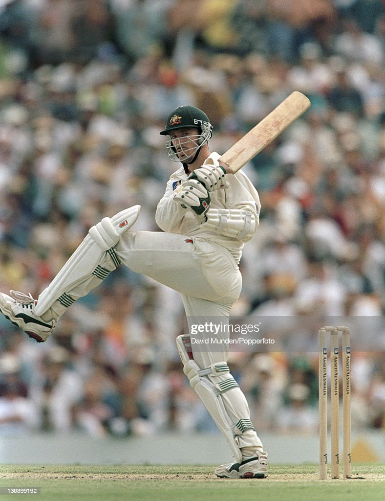 Australian batsman Damien Fleming in action during his innings of 71 not out during the 1st Test match between Australia and England at the Gabba in...